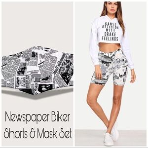 Pants - Filter Face Mask Newspaper Biker Short Set